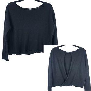 Tahari extra fine Marino wool openback sweater D20